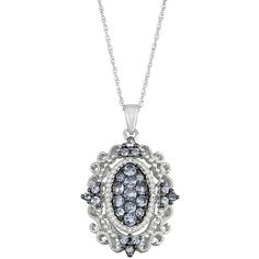 Sterling Silver Tanzanite & Diamond Accent Filigree Pendant Necklace ($88) ❤ liked on Polyvore featuring jewelry, necklaces, blue, tanzanite necklace, round necklace pendant, round pendant necklace, chain pendants and blue pendant necklace
