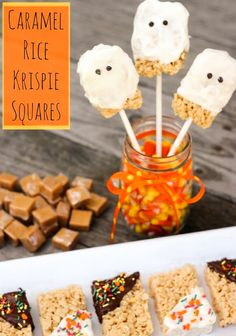 Looking for a fun and easy Halloween treat?  You can't go wrong with these Caramel Rice Krispies Squares.  There are lots of ways to creatively decorate!