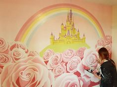 Disney Castle and Roses hand painted mural.