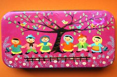 Vintage tin, children under tree, bright pink, folksy