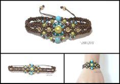 Bracelet en macramé marron, turquoise et vert anis - réf. Br 0177 : Bracelet par jadecreat