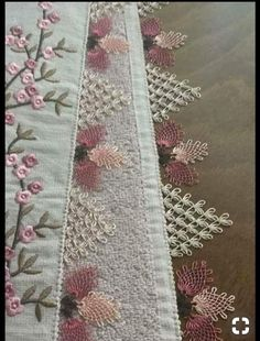 Needle lace Source by nurcannberkee Needle Lace, Needle And Thread, Filet Crochet, Knit Crochet, Hand Embroidery, Machine Embroidery, Tatting, Lace Runner, Decorative Towels