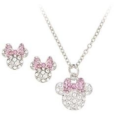 minnie mouse jewelry boutique | Swarovski Pave Crystal Minnie Mouse Jewelry Set For Women