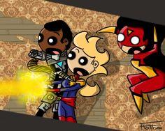 Superheroes in Haunted Houses 1/?  | Carol Danvers, James Rhodes, Jessica Drew |  http://flatbear.tumblr.com/