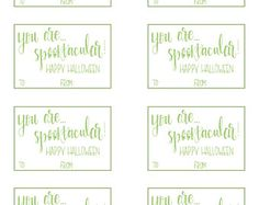 Print at home Halloween gift tags, candy tag, halloween decor, favour tags. Available in black and green.