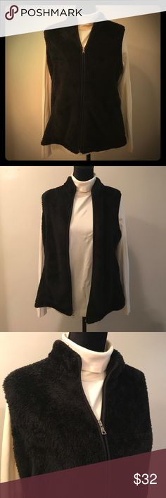 🖤Vest Black Fuzzy Croft & Barrow Petite Large One women's vest by Croft & Barrow. It is fuzzy and black and although it is preowned it was only gently worn and therefore still in excellent condition showing no visible signs of wear such as stains or tears. This vest is size petite large. It has a collar, zips all the way up the front, and has two pockets. Note that the turtleneck in the photos is not for sale. croft & barrow Jackets & Coats Vests