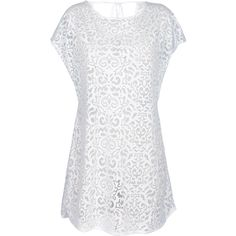 Lua Morena White Beach Cover-up, Openwork With Arabesque Motifs -... ($57) ❤ liked on Polyvore featuring swimwear, cover-ups, white, white beach cover up, white beach wear, white cover ups, swim cover up and beach cover up
