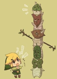 Link and the Koroks, from The Legend of Zelda: Wind Waker.