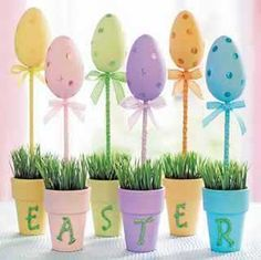 Clay Pot Crafts - Growing Easter Eggs