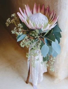 hochzeitsschuhe rosa Wedding Flowers - The Symbolism Hiding in Your Bouquet Marrygrams Protea Bouquet, Protea Flower, Eucalyptus Bouquet, Ribbon Bouquet, Seeded Eucalyptus, Bouquet Flowers, Protea Wedding, Floral Wedding, Green Wedding