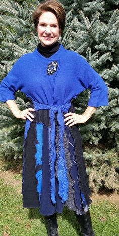 Black and Cobalt Recycled Sweater Coat and by WearableArtbyDenise