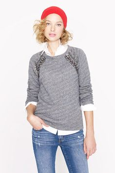15 Fancy Sweatshirts To Wear Out Of The House - J.Crew Collection Embellished Raglan Sweatshirt, $99.99, available at J.Crew
