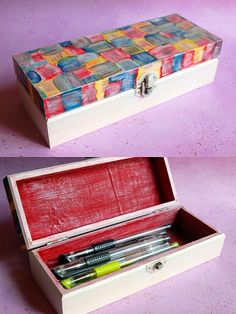 Painted wooden box, pen case style