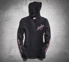 Stay warm in style with the pullover that features a hood and 5-button placket. A portion of every sale is donated to organizations that support breast cancer patients and their families. | Harley-Davidson Women's #PinkLabel Hooded Pullover