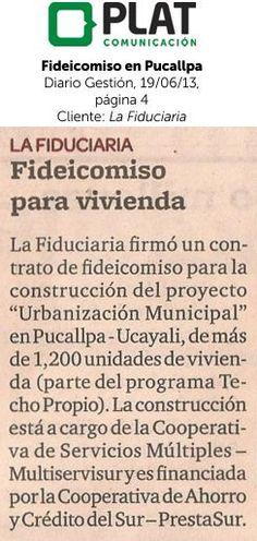 La Fiduciaria: Firma de fideicomiso en Pucallpa en el diario Gestión de Perú (19/06/13)