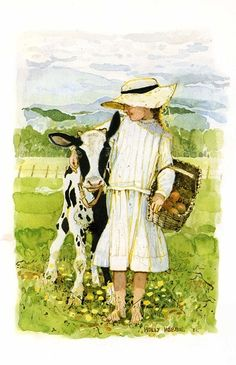 Little Girl and Calf - Holly Hobbie
