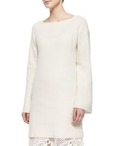 Bell-Sleeve Sweater Tunic, Size: SMALL, Ecru - See by Chloe