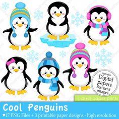 penguin clip art for winter board