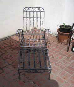salterini chaise u0026 ottoman wrought iron mid century modern rare estate find vintage patio iron