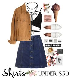 """""""Retro skirt outfit"""" by ingridballo ❤ liked on Polyvore featuring Boohoo, Topshop, Miss Selfridge, Madewell, Korres, NARS Cosmetics, Bobbi Brown Cosmetics, under50 and skirtunder50"""
