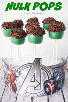 These Hulk Pop are so easy to make and will make a great addition to your Avengers or Superhero Party! I could see these turning into Frankenstein Cake Pops for Halloween too! Hulk Birthday Parties, Superhero Birthday Party, 3rd Birthday, Birthday Ideas, Avengers Party Foods, Avenger Cake, Avenger Party, Lego Marvel, Marvel Cake