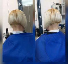 Short Stacked Bobs, Best Bobs, Shaved Nape, Stacked Bob Hairstyles, Cut My Hair, Short Hair Styles, Chair, Model, People