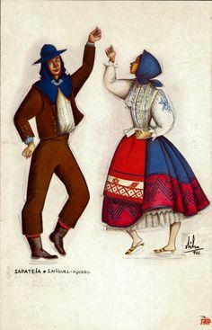 Conhecer Portugal, os Açores Folk Clothing, Princess Zelda, Disney Princess, Dracula, Portuguese, Costume Design, Illustration, Snow White, Cards