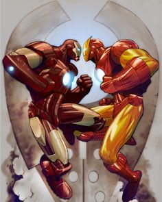"Iron Man v.s Iron Man, ""Iron is so your colour. Comic Book Characters, Marvel Characters, Comic Character, Comic Books Art, Comic Art, Comic Pics, Character Ideas, Book Art, Marvel Art"