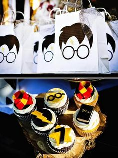 29 Creative Harry Potter Party Ideas These Harry Potter Favor Bags will definitely impress your guests. Baby Harry Potter, Harry Potter Baby Shower, Harry Potter Magie, Harry Potter Enfants, Gateau Harry Potter, Harry Potter Fiesta, Deco Harry Potter, Harry Potter Thema, Theme Harry Potter