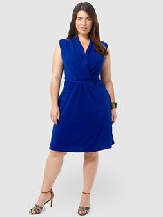 Cobalt Shawl Collar Dress