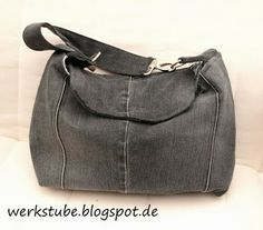 Tasche aus alter Jeans und Vorhang / Bag made from old pair of jeans and curtain