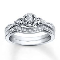 Diamond Bridal Set 1/8 ct tw Round-cut 10K White Gold