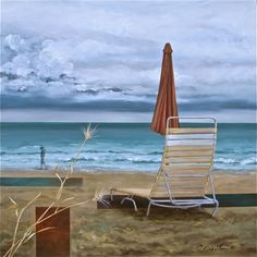 A Painting by Cyndy Carstens Solitude, Outdoor Furniture, Outdoor Decor, Online Art, Sun Lounger, Hammock, Landscape Paintings, Seaside, Serenity