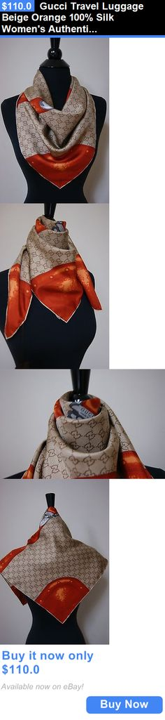 Women Accessories: Gucci Travel Luggage Beige Orange 100% Silk Womens Authentic Scarf BUY IT NOW ONLY: $110.0