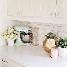 White Quartz Countertops, Transitional, kitchen, Oh My Dear Blog