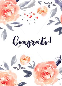 Cute Congrats Card With Watercolor Flowers - Angie Makes Stock Shop calligraphy, Congrats Card Background. Cute Congrats Card With Watercolor Flowers Watercolor Projects, Wreath Watercolor, Watercolor Cards, Watercolor Flowers, Baby Card Quotes, Cute Flower Drawing, Wedding Wishes Quotes, Wedding Congratulations Card, Happy Birthday Images