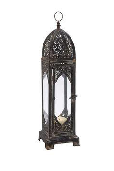 Metal & Glass Lantern by Rustic Vintage Decor on @HauteLook