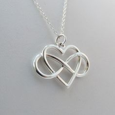 Large Infinity Heart Necklace in 925 Sterling Silver