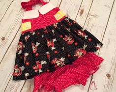 Minnie Mouse Halter Dress: size 2T to size by ElizabethMaeClothing