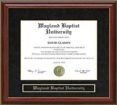 Custom Diploma Frame   Wayland Baptist University