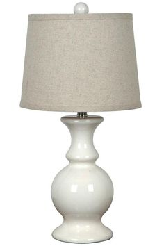 Joss & Main: Cast a warm glow in your library or living room with this delightful lamp, featuring a turned ceramic base for classic appeal. White Bedside Lamps, White Table Lamp, Bedside Table Lamps, Ceramic Table Lamps, Light Table, Lamp Table, Wooden Lamp, Desk Lamp, Lamp Light