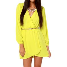 Choies Yellow V Neck Long Sleeve Chiffon Wrapped Dress ($24) ❤ liked on Polyvore