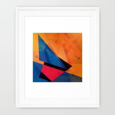Buy geometric abstract orange and blue Framed Art Print by Christine baessler. Worldwide shipping available at Society6.com. Just one of millions of high quality products available.