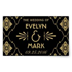 Elegant Vintage Retro Art Deco Style Gold on Black Personalized Wedding Rectangle Favor Stickers Template /