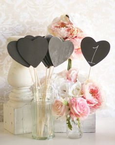 Chalkboard Signs Table Numbers On Sticks Shabby Chic Wedding