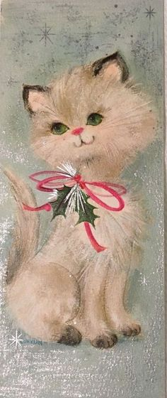 VINTAGE MC WHITE KITTEN PINK RIBBON ATOMIC SNOWFLAKES SILVER GILT CHRISTMAS CARD