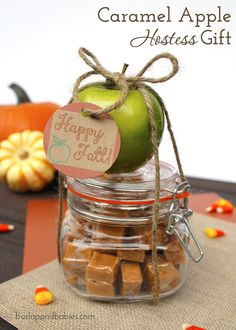 7 Fall Hostess Gift Ideas Find some great inspiration for gifts for autumn hostesses and friends like this single serving caramel apple, just enough for one