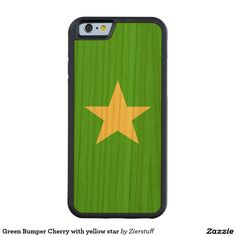 Green Bumper Cherry with yellow star Carved® Cherry iPhone 6 Bumper Case