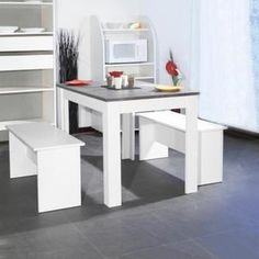TABLE A MANGER SEULE SALT Ensemble repas coloris blanc et plateau béton