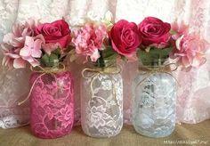 Ideas Wedding Centerpieces Pink Mason Jars For 2019 Diy Lace Mason Jars, Pink Mason Jars, Mason Jar Vases, Mason Jar Crafts, Bottle Crafts, Diy Lace Vase, Glass Jars, Bridal Shower Decorations, Valentine Decorations